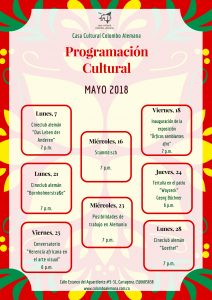 Programación cultural Mayo 2018