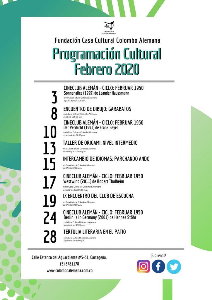 Programación Cultural Febrero 2020
